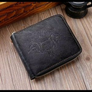 Other - Men's Black PU Leather Zipper Bifold Wallet